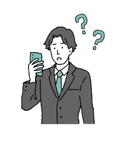 シンプルタッチ スマホを操作するビジネスマンのイラストレーション