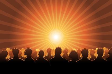 群衆・人々の集まり/ コンサート・ライブ (逆光・シルエット) ベクターバナーイラスト