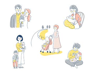 赤ちゃんと家族 さまざまなシーン セット
