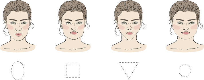 Set of different female face shapes with different hairstyle. There are oval, square, round, long, diamond and triangle. Vector illustration. - Vector