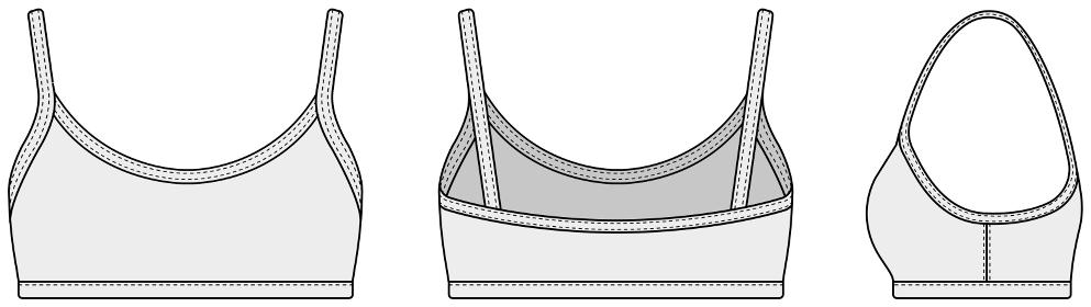 ブラトップ・スポーツブラ 女性用ウェア / テンプレートイラスト (フロント・バック・サイド)