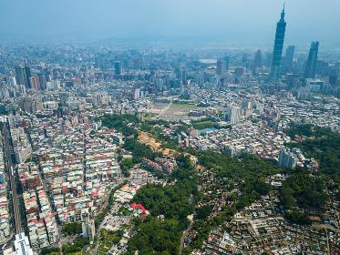 Taipei city, Taiwan, 18 May 2018:- Top view of Taipei city
