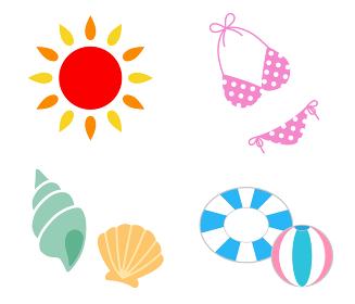 夏の海 イラストアイコン セット
