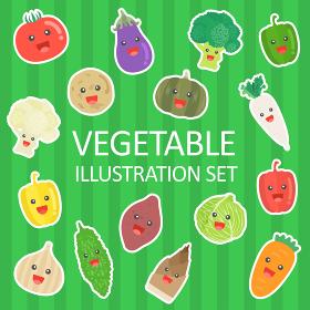 野菜のキャラクターのイラストセット
