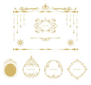 アンティーク調のフレーム あしらいセット ベクターイラスト ゴールドカラー