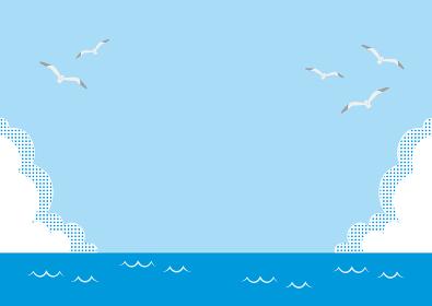 海・青空・雲・かもめが飛ぶイラスト