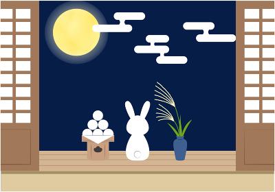 十五夜_縁側でお月見をするうさぎ
