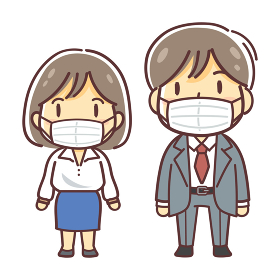 マスクをつけた会社員の男女の全身のイラスト(汎用・男性・女性)