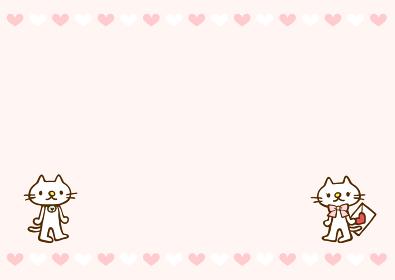 かわいい猫のバレンタインデーイラストフレーム