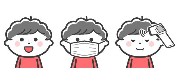 笑う、マスクをつける、検温をする、男の子セット/2色