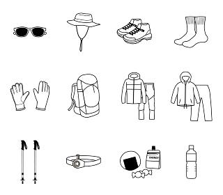登山に必要な持ち物の線画イラストセット
