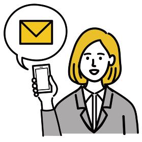 女性 金髪 若い スーツ ベクター ポップ 携帯電話 メール
