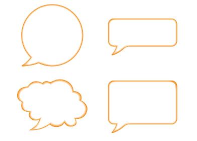 立体レリーフ状の漫画の吹き出し(オレンジ)|バルーン ベクターデータ Speech balloon