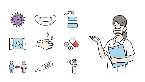 ウイルス感染対策のアイコン 女性の看護師