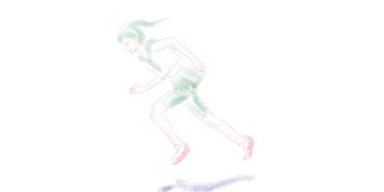 全力疾走する制服を着たポニーテールの女の子の手描き水彩風イラスト