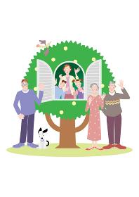 木の家の窓から笑顔の母親と姉弟と家族と犬
