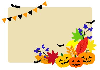 ハロウィンと秋の植物イラスト素材