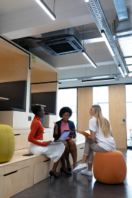 Diverse group of female business colleagues in discussion holding documents using tablet and laptop. business person in a modern office.