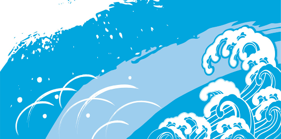 海鮮、波のデザイン
