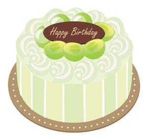マスカットとクリームのお誕生日ケーキ