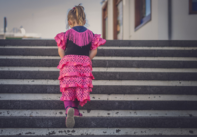 Girl walking up the stairs