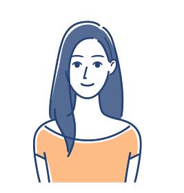 女性のイラスト ロングヘア