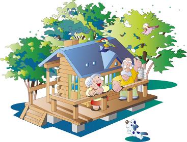 山小屋の別荘の老夫婦