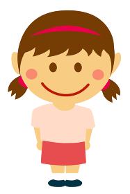 デフォルメ・二頭身 日本人 子供・少女・女の子 全身人物イラスト
