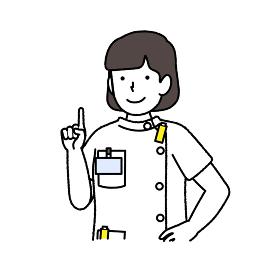 指を差すレントゲン技師 : 女性