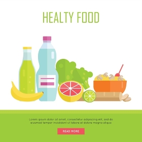 Healthy food concept web banner. Vector in flat design. Illustration of various food cereal, bread, soda, water, fruits and vegetables on white background for cafe, stores, gym web pages design. . Healthy Food Concept Web Banner Illustration.