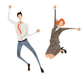 イラスト素材:ビジネスシーン、男性、女性、ジャンプ