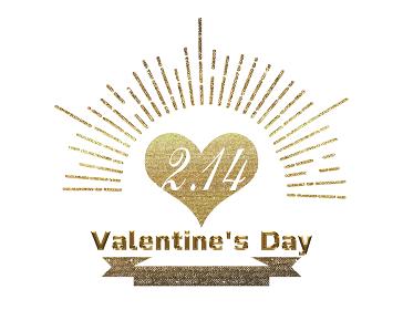 手描きタッチ バレンタインデー ロゴマーク ゴールドメタリック 手描き集中線とハート イラスト