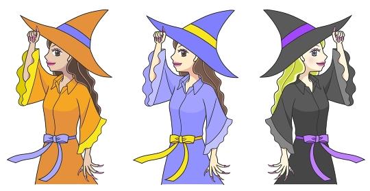 おそろいの服を着て帽子を持つポーズをする3人の若い魔女