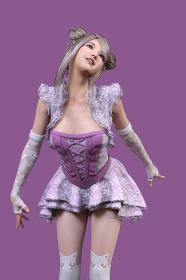 お団子ヘアーの女の子がレースがふんだんにあしらわれた紫色のコルセット風ワンピースドレスを着ている