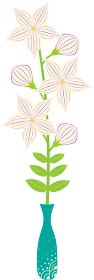 白い桔梗の花と緑色の花瓶のイラストアイコン