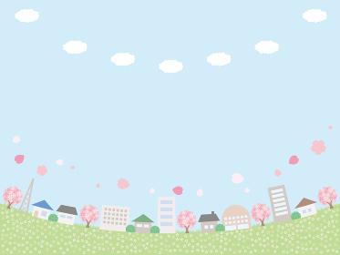 シンプルな春の街並みの背景イラスト へこんでいるレイアウト