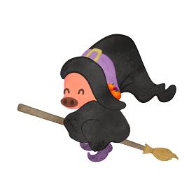 ほうきに乗っている魔女のコスプレをした豚