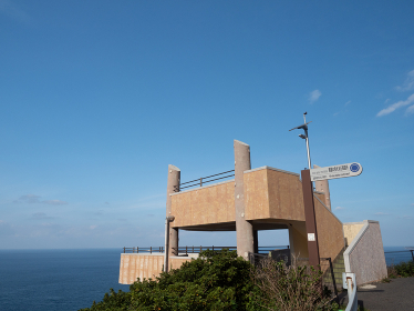 対馬 異国の見える丘展望台と水平線の風景