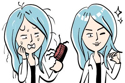 抜け毛と薄毛と白髪に悩む女性]