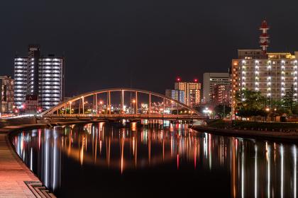 紫川と鉄の橋夜景