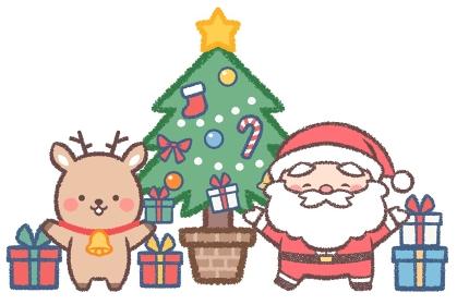 クリスマスツリーとサンタクロースとトナカイ