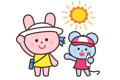 熱中症予防/帽子をかぶろう・水分補給/うさぎとねずみ
