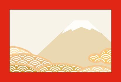 赤い枠がある富士山と青海波の和風イメージの背景イラスト