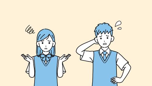 困る学生 トラブル 問題 中高生 高校生 中学生 男女 イラスト素材