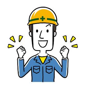 イラスト素材:作業服を着た若い男性、やる気、元気