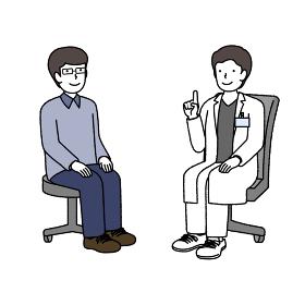 病院で相談する男性