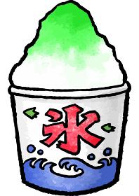 【手描きベクター食べ物イラスト素材】メロン味のかき氷のイラスト【縁日・お祭り・屋台の食べ物】