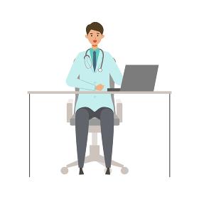 椅子に座る男性医師のイラスト