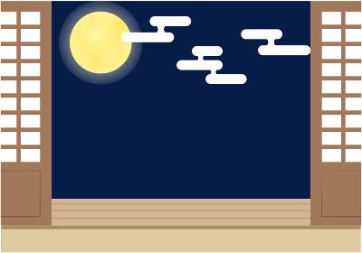 十五夜_縁側から見る満月のフレーム
