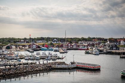 L?SO, DENMARK - AUGUST 16 - 2015: Boats in the harbor of L?so in Denmark